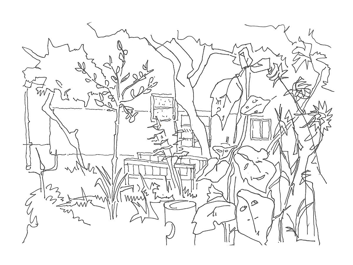 UTZBEKISTAN, Taschen, giugno, 2012, giardino di casa